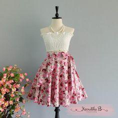 Summer's Whisper Floral Skirt Spring Summer Sweet Floral Skirt Party Cocktail Skirt Wedding Bridesmaid Skirt Purple Pink Floral Skirts