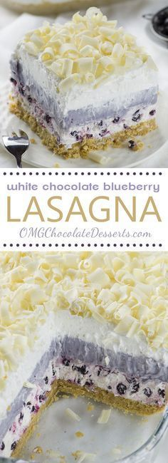 White Chocolate Blueberry Lasagna - Chocolate Dessert Recipes - OMG Chocolate Desserts