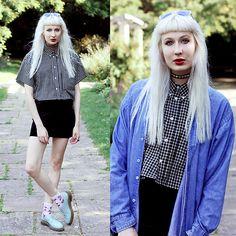 Isabella Barter Topshop Socks, Primark, Denim Shirt, Mary Kate Olsen, Velvet Skirt, Vintage Levis, Get Dressed, Choker, Blues