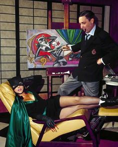 """astromonster: """" I know I've posted the BW version before but this is irresistable. Batgirl Yvonne Craig poses for BATMAN creator Bob Kane in a staged publicity shot. Catwoman Cosplay, Cosplay Gatúbela, Cosplay Ideas, Comic Book Artists, Comic Artist, Comic Books Art, Bob Kane, Batgirl, Batman Painting"""