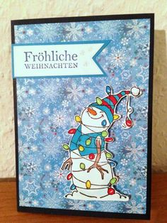 Art Impressions Lighted Snowman set.  Christmas winter card