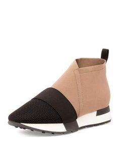 Balenciaga Elastic & Mesh High-Top Sneaker, Noir/Taupe