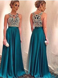 Prom dress 2016,Dark Green Prom Dress,Appliques Prom dress,Illusion Prom dress,Satin Prom dress,Long Prom dress,