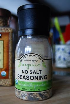 Olde Thompson Organic No-Salt Seasoning. UPDATE:  This can be purchased at Costco under their Kirkland Signature brand. I believe it's in a larger size.
