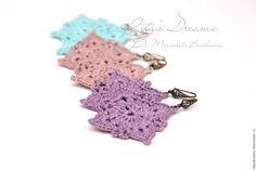 Купить Ажурные серьги из льна, вязаные льняные голубые розовые сиреневые, лен
