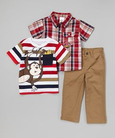 Look at this Red Monkey Button-Up Set - Infant