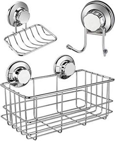 iPEGTOP Strong Suction Cup Shower Caddy Bath Organizer Storage Basket Soap Dish Holder Hooks Stainless Steel Shampoo Conditioner Bathroom Accessories 3 Sets - $29.99 - 4.3 out of 5 stars - Bathtub Tray Basket Shelves, Storage Baskets, Kitchen Storage, Storage Organization, Bathtub Tray, Shampoo And Conditioner, Bathroom Accessories, Bath Organizer, Stainless Steel