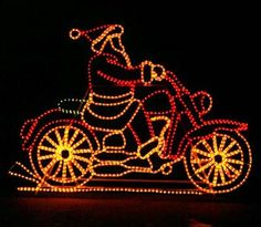 santa on motorcycle with controller outside xmas decorationschristmas