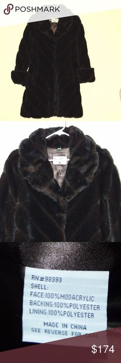 NWOT Pamela McCoy Faux Sable Mink Fur Coat Pamela McCoy Dark Sable Mink Faux Fur Pointed Collar Hook Front Coat Sz M  NWOT-New without tags or package Let your inner diva strut in this luxurious stroller! Its oversized fold-over collar demands attention, sturdy hook and eye clasps secure the opening. You'll love the coat's plush faux fur - it adds texture and dimension to any look and will look absolutely elegant over your favorite cocktail dresses and tailored suits. But never fear, you can…
