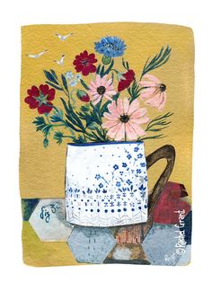 Items similar to Floral Cup Print on Etsy Illustration Noel, Watercolor Illustration, Rachel Grant, Art Grants, Madhubani Art, Cup Art, Whimsical Art, Pictures To Paint, Art Paintings