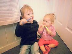 #BabyTeeth Zara teaching her baby sister, Tatum how to brush her very first toothy peg!