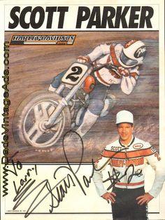 1993 Scott Parker #2 Harley-Davidson Racing Autographed Photo
