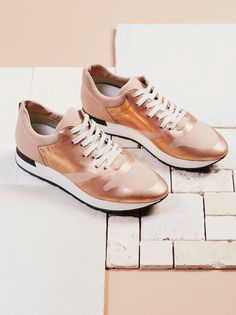 Kick It Lace Up Sneaker | In a retro silhouette, these metallic leather sneakers feature a rubber platform and treaded sole. Italian made.