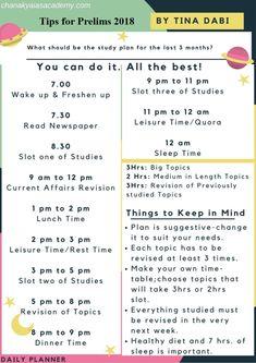 Prepare for Prelims 2018 – Tina Dabi Style Exam Study Tips, Exams Tips, School Study Tips, Study Habits, Study Skills, Study Time Table, Best Time To Study, Exam Preparation Tips, Effective Study Tips