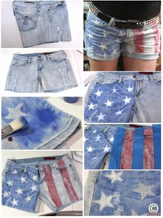"DIY American Flag shorts created using an old pair of cut off jeans, fabric paint & a stenciling technique. The stars were printed onto vinyl decal sheets in Word & cut out. The old pant leg was used to test the color & blot off excess paint. A toss in the wash to fray the bottoms & some embellishments on the front & back pockets and done...super cute ""new"" shorts! #AmericanFlagShorts #diy"