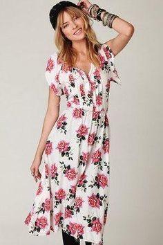 Eva Mendes wearing Daughters of the Revolution Floral Short Sleeve Dress