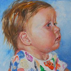 Olieverf portret 14 x 14 cm linnen op paneel, van Joris 7 1/2 maand oud
