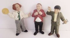 "Three Stooges Set of 3 PVC 1991 Larry Moe Curly, Movie Star Toy Figures 4"" HTF  #NMP"