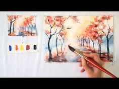 Autumn Alley  Step By Step Watercolor Tutorial  Part 1