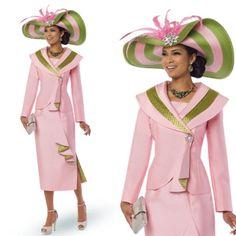 "Donna Vinci 11520 Colors: Pink/Lime Jacket Length: 23"" Skirt Length: 32"" Sizes: 8, 10, 12, 14, 16, 18, 20, 22 Matching Hat Donna Vinci 11520H http://www.divasdenfashion.com/Donna-Vinci-11520-p/don-11520.htm #DivasDenFashion #DonnaVinci"