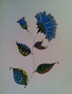 My attempt of the zentangled Blue flower