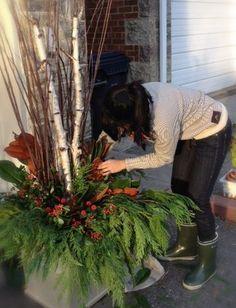 Decorar con palos y ramas    DIY vacaciones Plantadores «diseño de nido de estudio {} Blog: