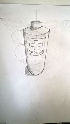 3 point perspective drawing of a medicine bottle