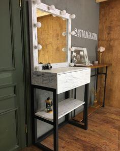 Купить Гримерное зеркало и стол FLORIDA - чёрно-белый, стол, стол визажиста, стол из металла