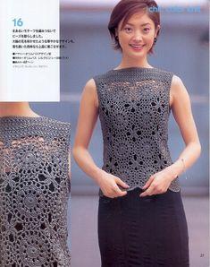 Стильный элегантный том серого цвета связан из мотивов. Кокетка топа выполнена простыми столбиками. Описание на китайской языке, но схем...
