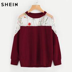 SHEIN Embroidery Mesh Paneled Marled Sweatshirt Womens Sweatshirts Pullover Autumn Long Sleeve Casual Sweatshirts #Brand #SheIn #sweaters #women_clothing #stylish_dresses #style #fashion