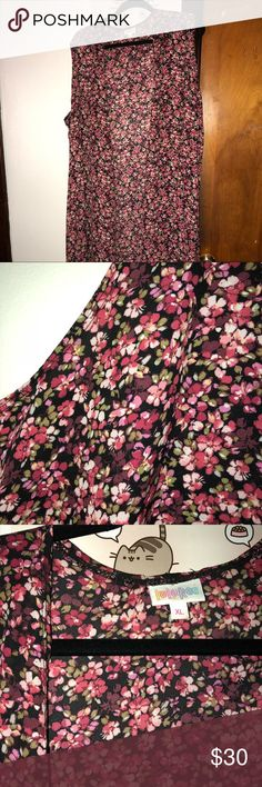 LuLaRoe Joy XL Absolutely stunning xlarge Joy in a chiffon material (no stretch). Black background with beautiful floral pattern. Well loved but not showing any signs of damage as far as I've seen! LuLaRoe Tops