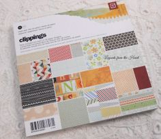 Basic Grey Clippings 6x6 Paper Pad Pack - SALE 36 heavyweight papers quilt flowers notebook graph stitches  number scrapbooking card paper