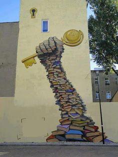 40 examples of street art and murals about books, libraries,… – Graffiti World 3d Street Art, Street Art Banksy, Murals Street Art, Best Street Art, Art Mural, Wall Murals, Wall Street, Street Signs, Famous Graffiti Artists