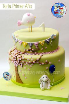 Torta Pajarito - Torta conejo - torta baby shower - torta primer año - bird cake - rabbit cake - baby shower cake