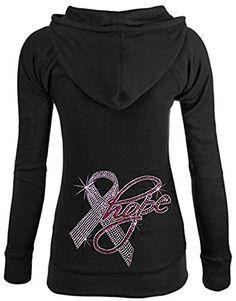 Interstate Apparel Inc Rhinestone Hope Pink Ribbon Breast Cancer Awareness Zipper Hoodie S-XL Juniors