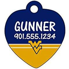 West Virginia Mountaineers Dog Tag Cat Tag Pet Id Tag Personalized w/ Name