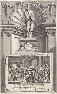 Jan Luyken   H. Basilius van Caesarea, kerkvader, Jan Luyken, Zacharias Chatelain (II), François Halma, 1698   De heilige kerkvader Basilius van Caesarea, staand op een sokkel. Op de voorzijde de scène waarin Basilius voedsel uitdeelt aan de armen. Prent middenboven gemerkt: III. Deel Pag. 311 (voor overgrote deel afgesneden).