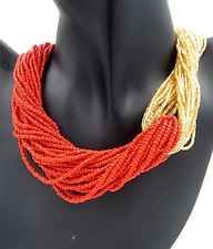 Lady Accessories Standout Gold Orange Beaded Layered Chunky Chain Necklace #640