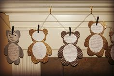 """baby shower black white and gold #bear Ask your guests to write something for you on these """"bear"""" cards and use them to decorate your party"""