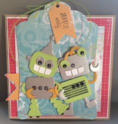 My Cardcreations: BLIEP BLIEP.....BOOP Die Cut Cards, Love Cards, Marianne Design Cards, Robot Illustration, Craft Punches, Punch Art, Kids Cards, Cardmaking, Boy Or Girl
