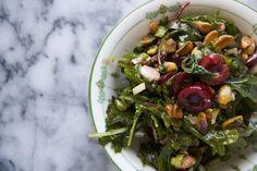 baby kale, pistachio, fresh cherry salad // Dunk & Crumble