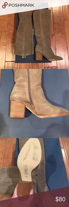 Atwell Tan Suede Knee High Boots Like new! Tan suede knee high boots with zipper by Atwell. Worn once! Purchase from Gilt. Comfortable 3 inch stacked heel. atwell Shoes Heeled Boots