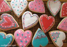Colourful heart cookies. Could be also used as name place cards