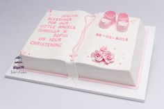 In October 2012 I made a rose ivory wedding cake for Oriana, this week I had the honour of making her baby twin girls christening cake :-) Baby Girl Christening Cake, Baby Girl Cakes, Baby Baptism, Baptism Sheet Cake, Baptism Cakes, Baby Dedication Cake, Open Book Cakes, Sheet Cake Designs, Jake Cake