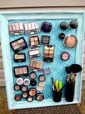 DIY Makeup Organization Ideas, Makeup Storage, A magnetic makeup board! Bathroom Organization, Makeup Organization, Bathroom Storage, Bathroom Vanities, Organized Bathroom, Bathroom Interior, Modern Bathroom, Storage Organization, College Organization