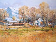 """Farm in Erda, Utah  available at the Brushworks Gallery  18"""" x 24"""" image  watercolor SOLD        Boats at Dock, Sitka, Alaska  available a..."""
