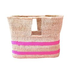 Pink Stripe Basket Bag