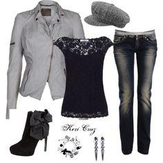 """Grey & Black-flirty & fun"" by keri-cruz on Polyvore"