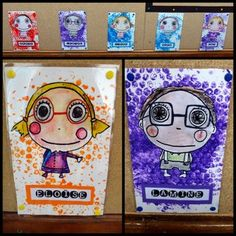 Paper pos on bubble wrap and watercolour pencil for the character. Drawing gum on the white of the eyes. First Day Activities, Art Activities, First Day Of School, Pre School, Self Portrait Kids, Square 1 Art, 5th Grade Art, Paper Drawing, Kindergarten Art