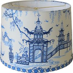 Add a touch of chinoiserie with this lovely drum shade featuring a chintz Waverly fabric in tonal shades of blue on a porcelain/ivory background.